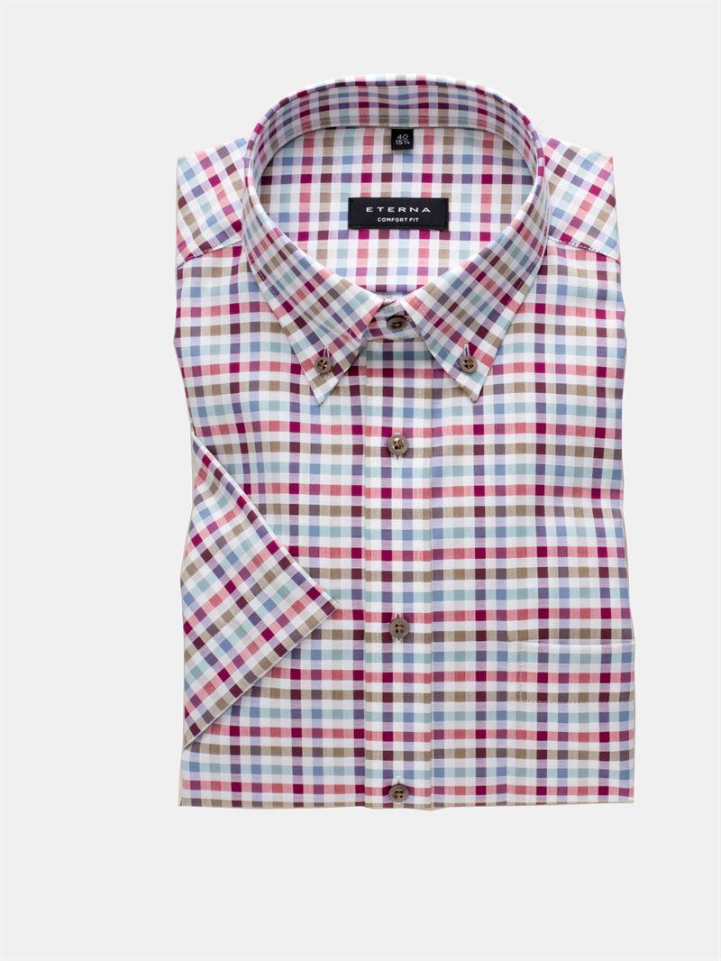 8654d840 Eterna kortærmet ternet skjorte. Comfort Fit 8058 90 K194